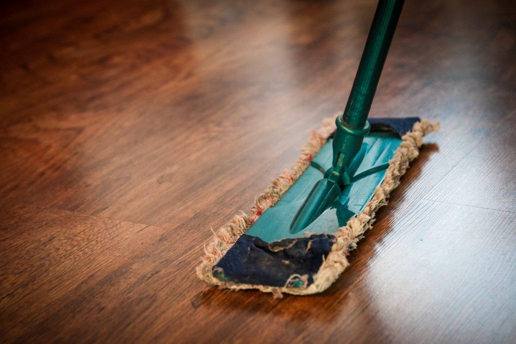 mopping a hardwood floor